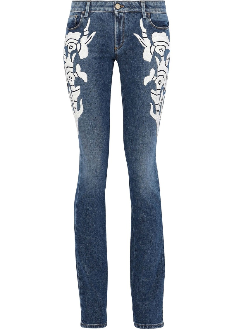Roberto Cavalli Woman Embroidered Faded Mid-rise Slim-leg Jeans Mid Denim