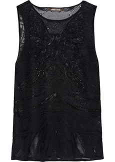 Roberto Cavalli Woman Embroidered Lace-paneled Pointelle-knit Top Black