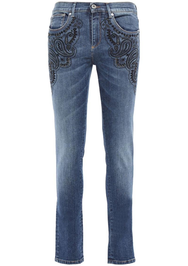 Roberto Cavalli Woman Studded Embroidered Mid-rise Skinny Jeans Mid Denim