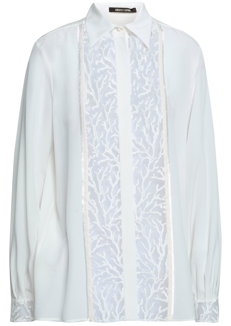 Roberto Cavalli Woman Embroidered Tulle-paneled Silk-georgette Shirt Ivory