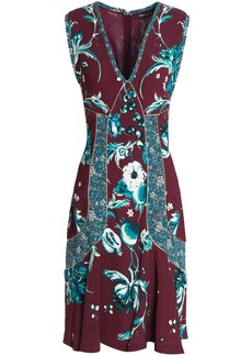 Roberto Cavalli Woman Flared Metallic-trimmed Floral-print Crepe Dress Burgundy