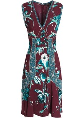 Roberto Cavalli Woman Flared Metallic-trimmed Floral-print Crepe Dress Burgundy