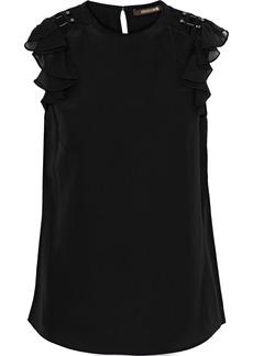 Roberto Cavalli Woman Flocked Tulle-trimmed Embellished Silk Crepe De Chine Top Black
