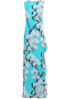 Roberto Cavalli Woman Floral-print Ruffled Silk-twill Maxi Dress Turquoise