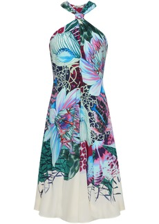 Roberto Cavalli Woman Floral-print Silk Crepe De Chine Dress Multicolor