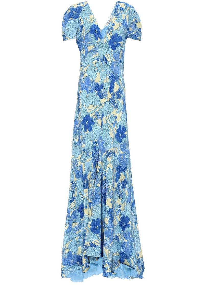 Roberto Cavalli Woman Floral-print Silk Maxi Dress Azure