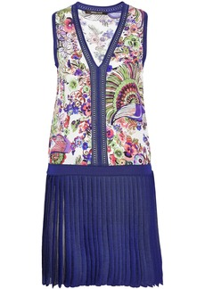 Roberto Cavalli Woman Floral-print Silk-paneled Pleated Stretch-knit Mini Dress Indigo