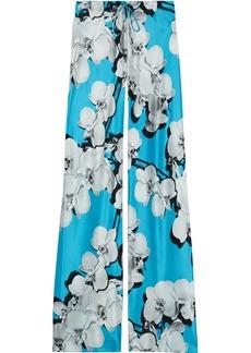 Roberto Cavalli Woman Floral-print Silk-satin Wide-leg Pants Light Blue