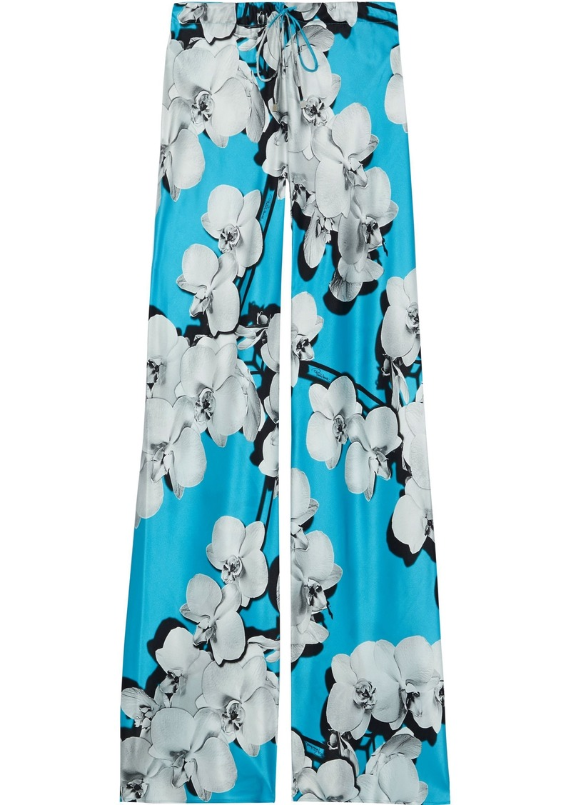 Roberto Cavalli Woman Floral-print Silk-satin Wide-leg Pants Light Blue