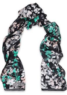 Roberto Cavalli Woman Floral-print Silk Scarf Black