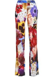 Roberto Cavalli Woman Floral-print Stretch-crepe Straight-leg Pants Multicolor