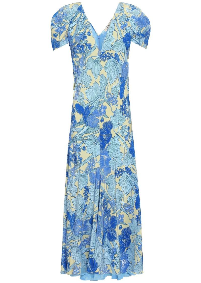 Roberto Cavalli Woman Floral-print Silk Crepe De Chine Midi Dress Azure
