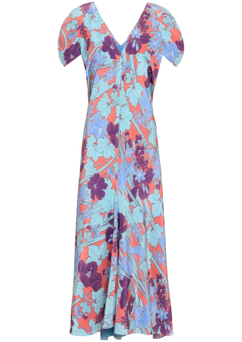 Roberto Cavalli Woman Floral-print Silk Crepe De Chine Midi Dress Coral