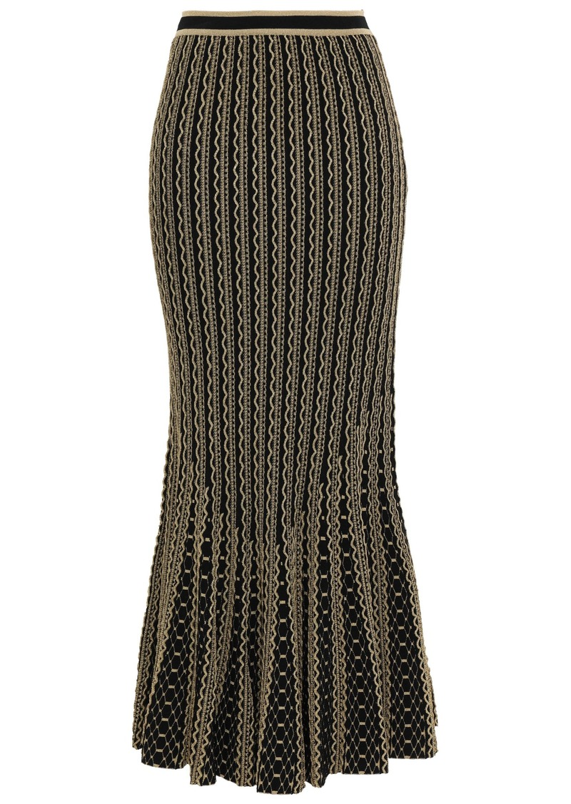 Roberto Cavalli Woman Fluted Metallic Stretch-knit Maxi Skirt Gold