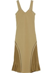 Roberto Cavalli Woman Fluted Ribbed Knit-paneled Ponte Dress Sage Green