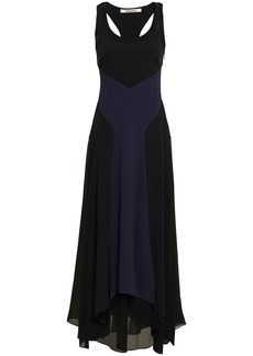 Roberto Cavalli Woman Fluted Two-tone Georgette And Stretch-crepe Gown Black
