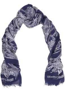Roberto Cavalli Woman Frayed Floral-print Modal And Cashmere-blend Scarf Navy