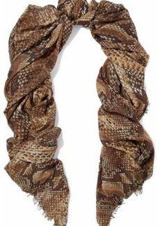 Roberto Cavalli Woman Frayed Snake-print Modal-blend Scarf Tan