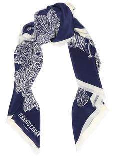 Roberto Cavalli Woman Fringed Floral-print Silk Scarf Navy