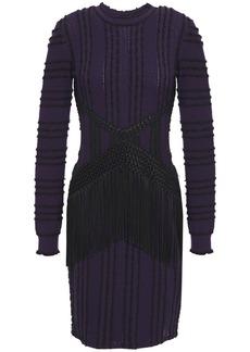 Roberto Cavalli Woman Fringed Macramé-paneled Bouclé-trimmed Pointelle-knit Mini Dress Dark Purple