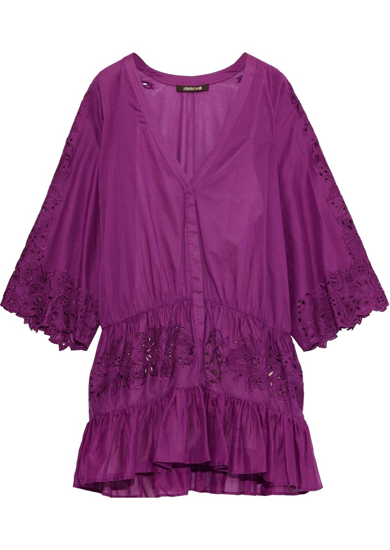 Roberto Cavalli Woman Gathered Broderie Anglaise Cotton Mini Dress Violet