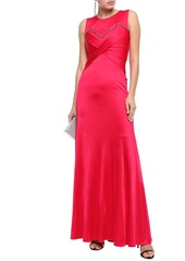 Roberto Cavalli Woman Gathered Crystal-embellished Jersey Gown Fuchsia