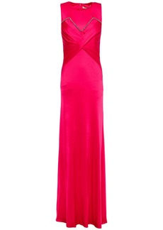 Roberto Cavalli Woman Gathered Crystal-embellished Jersey Gown Fuchsia
