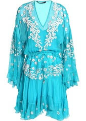 Roberto Cavalli Woman Gathered Embellished Silk-gauze Dress Turquoise