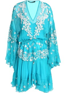 Roberto Cavalli Woman Gathered Embellished Silk-gauze Dress Turquoise