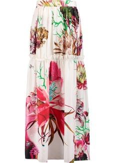 Roberto Cavalli Woman Gathered Floral-print Silk-satin Maxi Skirt Off-white