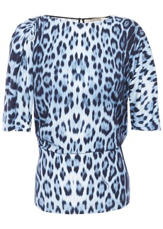 Roberto Cavalli Woman Gathered Leopard-print Stretch-jersey Top Animal Print