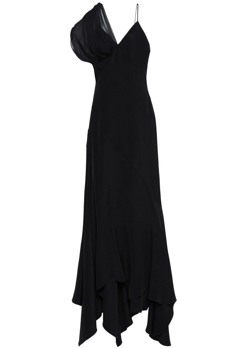 Roberto Cavalli Woman Georgette-paneled Silk-cady Gown Black