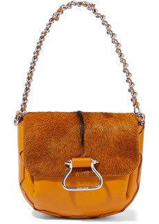 Roberto Cavalli Woman Goat Hair-paneled Leather Shoulder Bag Camel