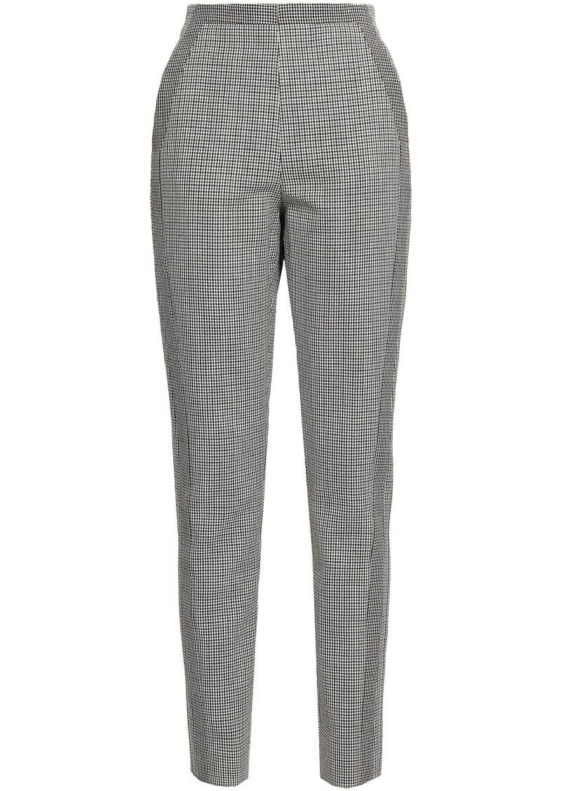 Roberto Cavalli Woman Houndstooth Wool Slim-leg Pants Stone