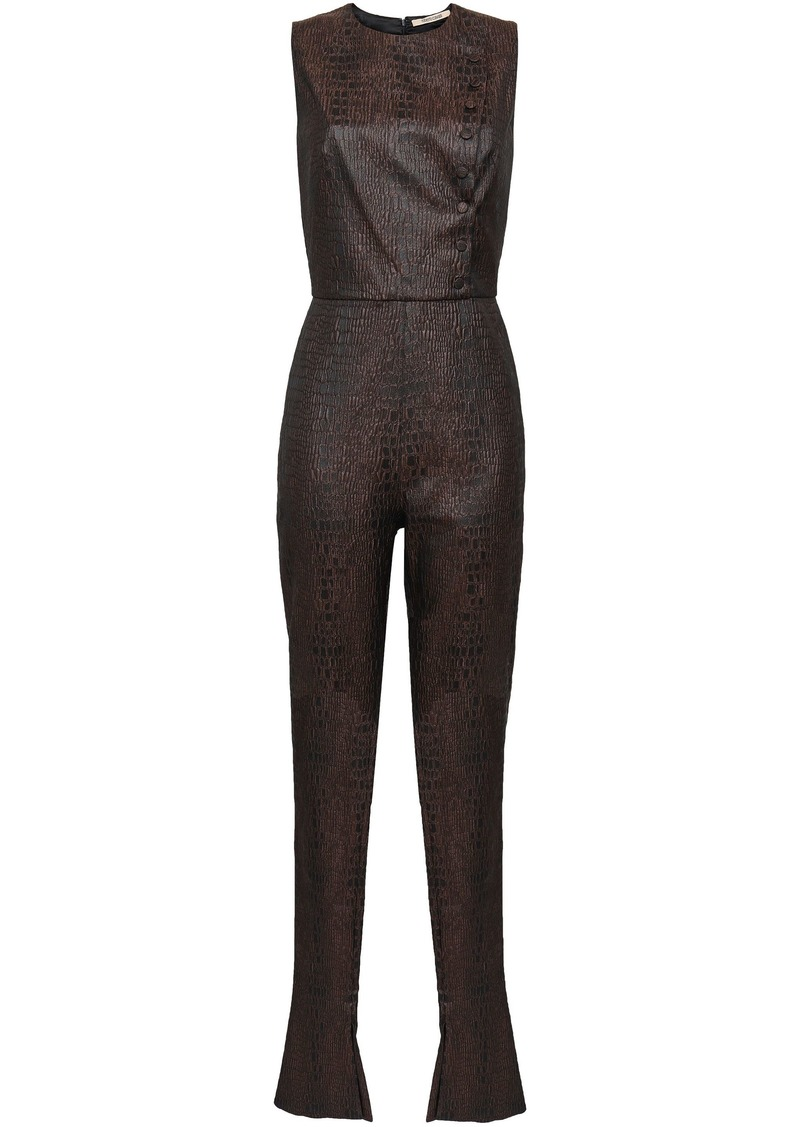 Roberto Cavalli Woman Jacquard Jumpsuit Brown