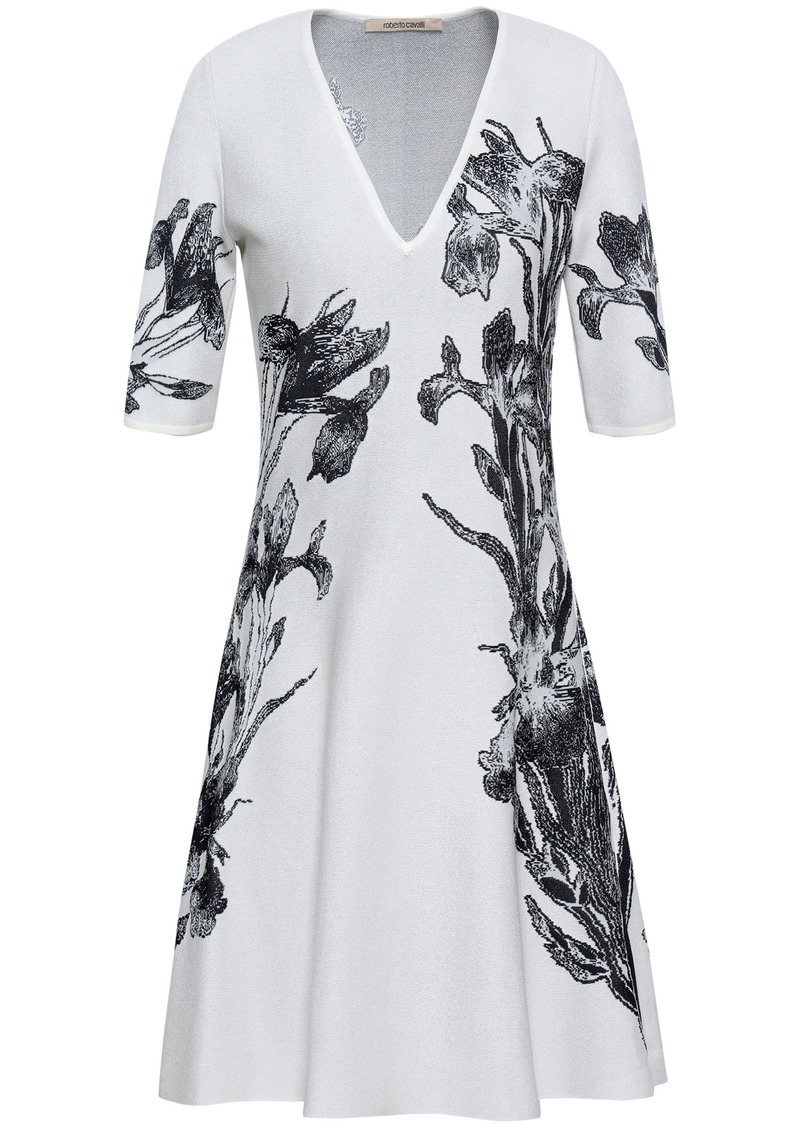 Roberto Cavalli Woman Flared Floral-jacquard Mini Dress Ivory