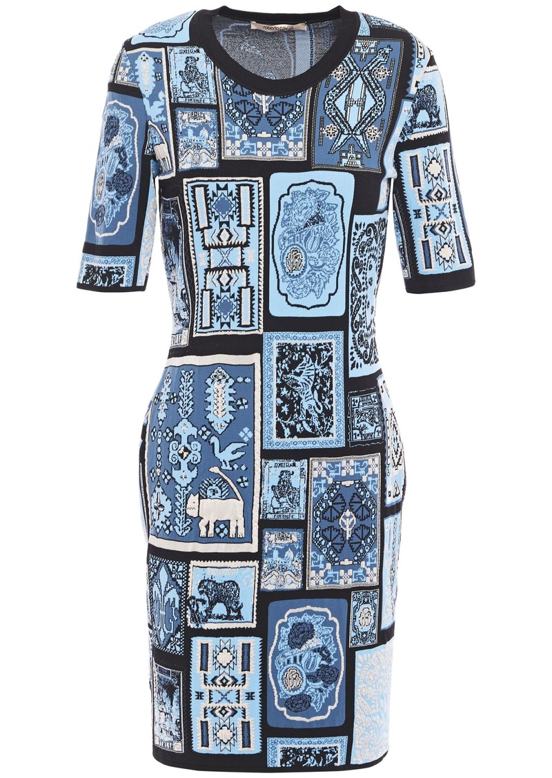 Roberto Cavalli Woman Jacquard-knit Mini Dress Light Blue