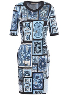 Roberto Cavalli Woman Jacquard-knit Mini Dress Light Blue