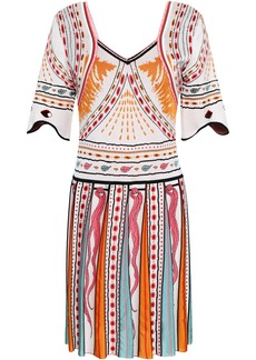 Roberto Cavalli Woman Jacquard-knit Mini Dress White
