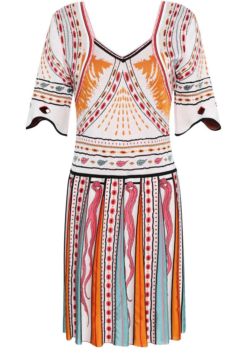 Roberto Cavalli Woman Jacquard-knit Mini Dress White