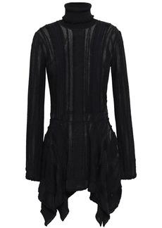 Roberto Cavalli Woman Jacquard-knit Turtleneck Top Black