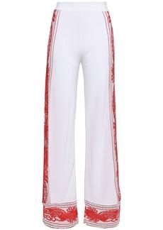 Roberto Cavalli Woman Jacquard-knit Wide-leg Pants Coral