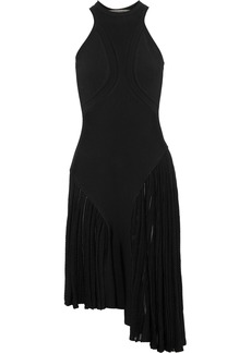 Roberto Cavalli Woman Asymmetric Paneled Cutout Stretch-knit Dress Black