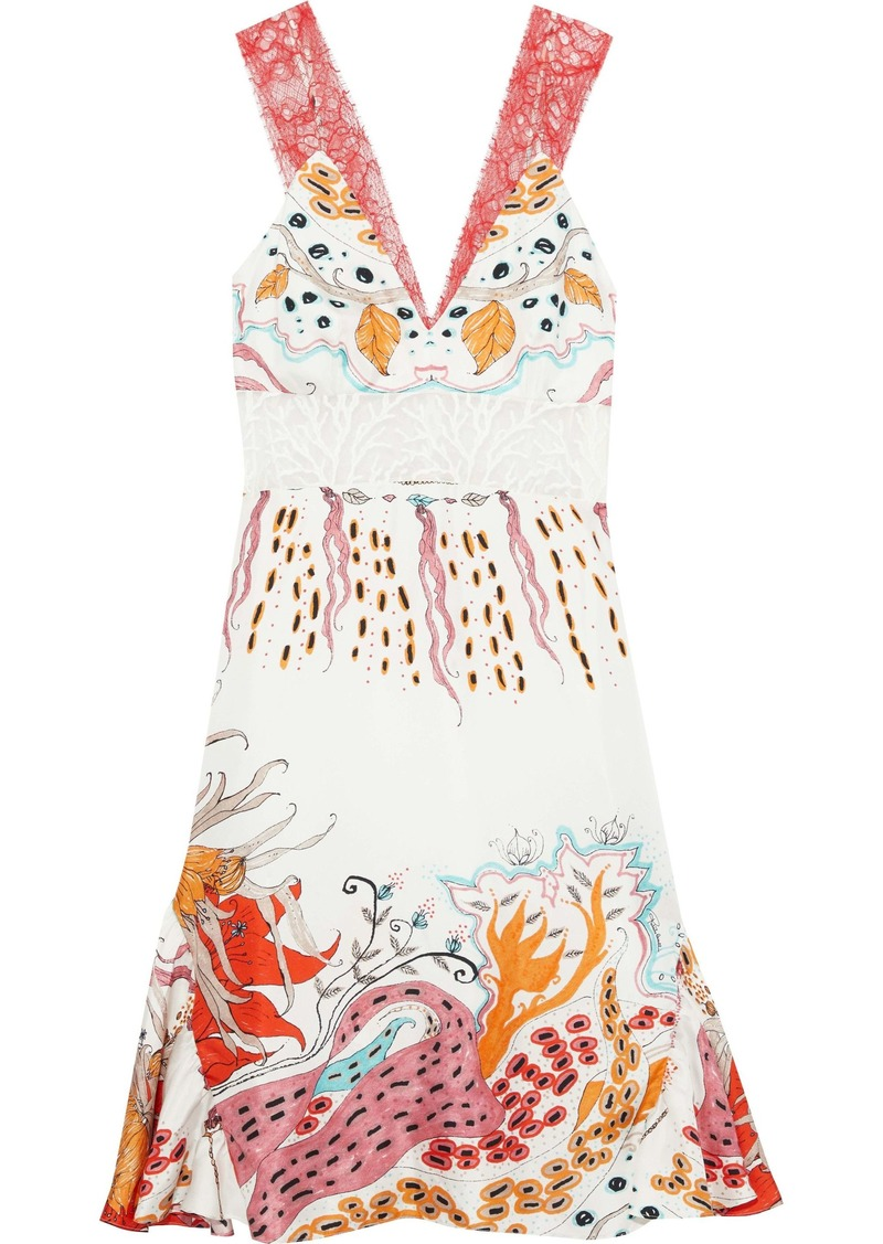 Roberto Cavalli Woman Embroidered Tulle-paneled Printed Silk-twill Dress White