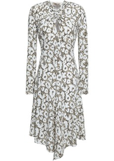 Roberto Cavalli Woman Knotted Cutout Printed Jersey Dress White