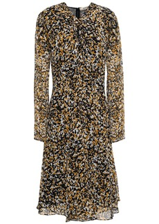Roberto Cavalli Woman Knotted Printed Silk-voile Dress Mustard