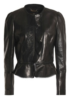 Roberto Cavalli Woman Lace And Ruffle-trimmed Leather Jacket Black