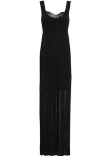 Roberto Cavalli Woman Lace-paneled Plissé Crochet-knit Maxi Dress Black