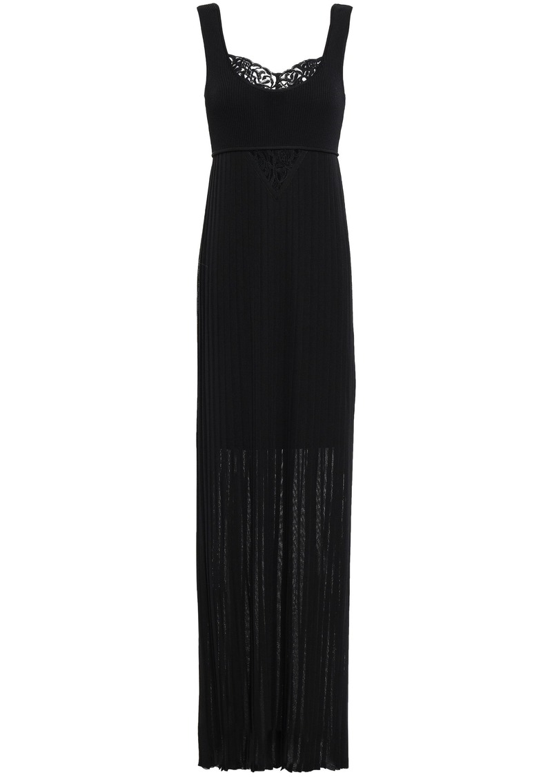 Roberto Cavalli Woman Lace-paneled Plissé Crochet-knit Maxi Dress Black