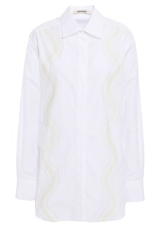 Roberto Cavalli Woman Lace-trimmed Cotton-poplin Shirt White